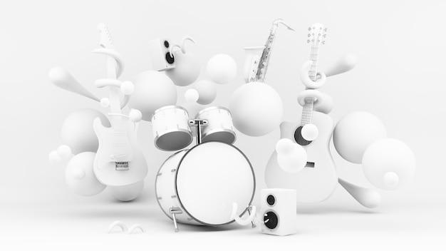 Instruments de papier blanc dans le rendu 3d