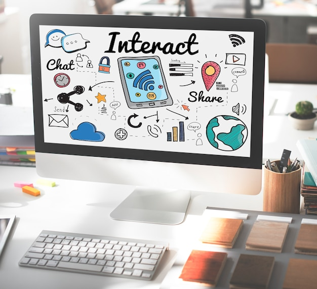 Interaction interaction concept de groupe d'interaction interactive