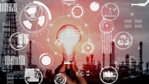 Interface graphique conceptuelle d'ampoule d'innovation énergétique