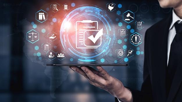 Interface graphique de conformité aux lois et règlements pour la politique de qualité de l'entreprise
