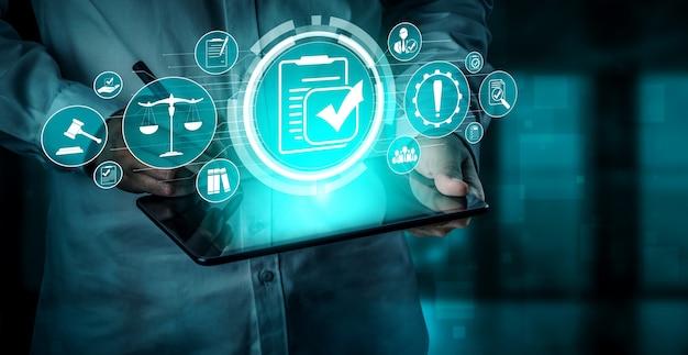 Interface graphique de la loi et de la réglementation sur les règles de conformité pour la politique de qualité de l'entreprise