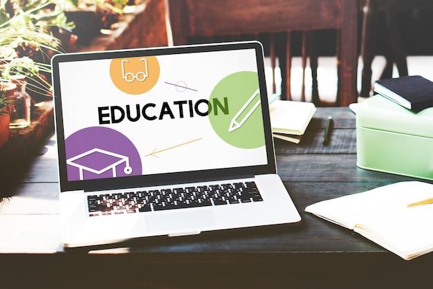 Interface d'icônes d'enseignement à distance e-learning