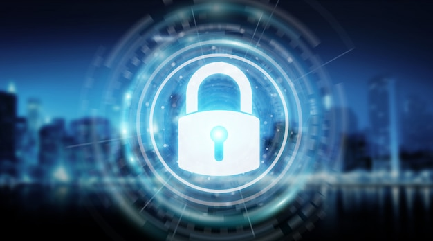 Interface de sécurité cadenas protégeant le rendu 3d des données