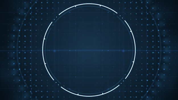 Interface technologique future utilisateur hud avec des cercles en rotation sur fond bleu foncé.