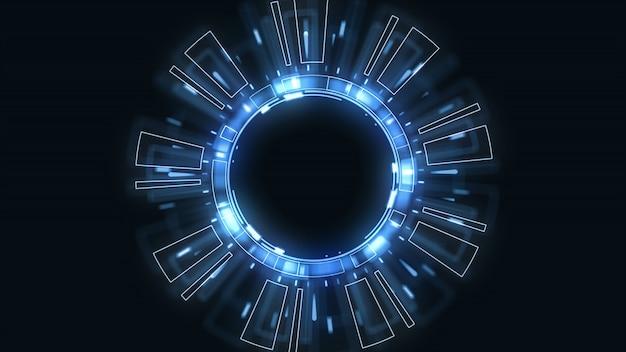 Interface technologique future utilisateur hud avec des cercles tournants sur fond bleu foncé.