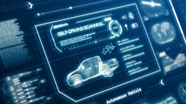 Interface utilisateur de test de numérisation de spécifications de voiture de camionnette de véhicule autonome hud sur écran d'ordinateur panneau d'affichage de pixels