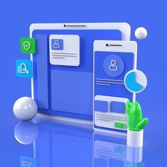 Interface web navigateur ordinateur infographie rendu 3d bleu photo premium
