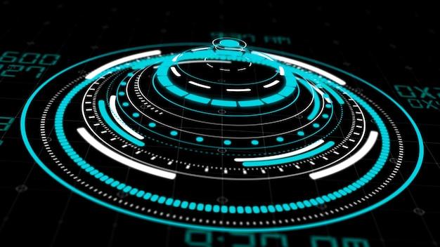 Interfaces de cercle hologramme hud, affichage de bouton futuriste de haute technologie