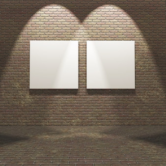 Intérieur 3d avec des toiles vierges sur un mur de briques