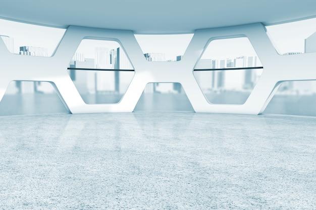 Intérieur abstrait de bureau vide lumineux en gros plan extrême de clé bleue. rendu 3d
