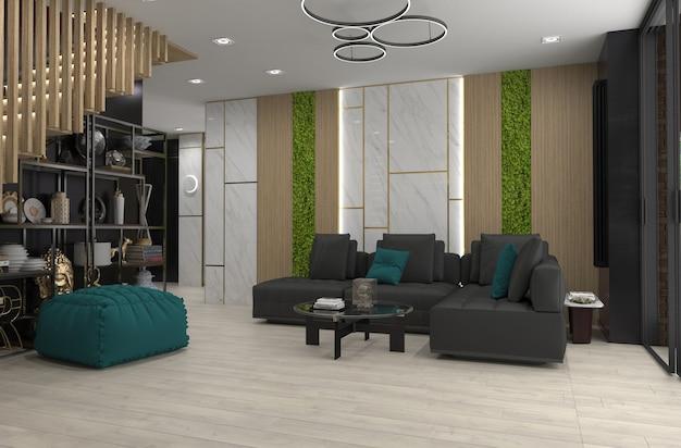Intérieur de l'appartement moderne, illustration 3d