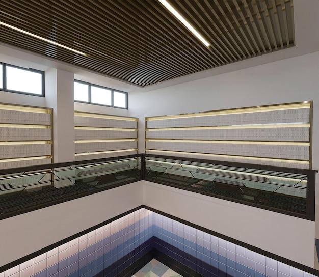 Intérieur d'un bâtiment de la bibliothèque moderne, rendu 3d