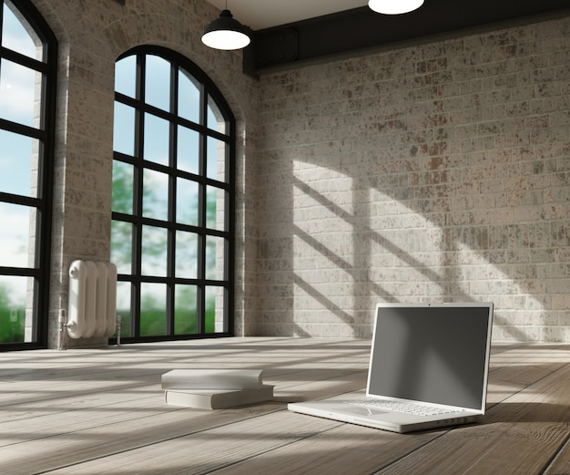 Intérieur blanc et ordinateur