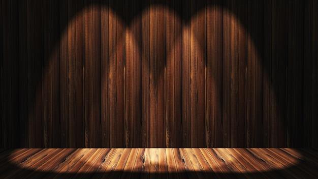 Intérieur en bois 3d grunge avec des projecteurs qui brille