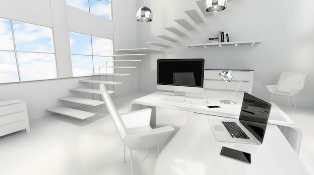 Intérieur de bureau blanc moderne avec ordinateur et périphériques, rendu 3d