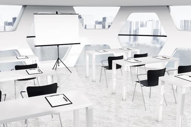 Intérieur de bureau lumineux abstrait avec gros plan extrême de lieux de travail. rendu 3d