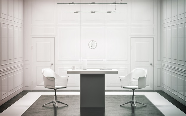 Intérieur de bureau de luxe blanc blanc