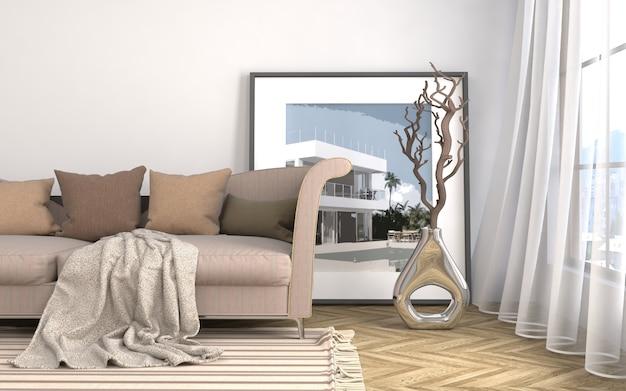 Intérieur avec canapé. 3d illustrationi