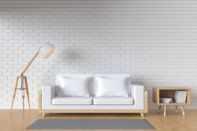 L'intérieur a un canapé blanc et une lampe sur fond de mur blanc vide