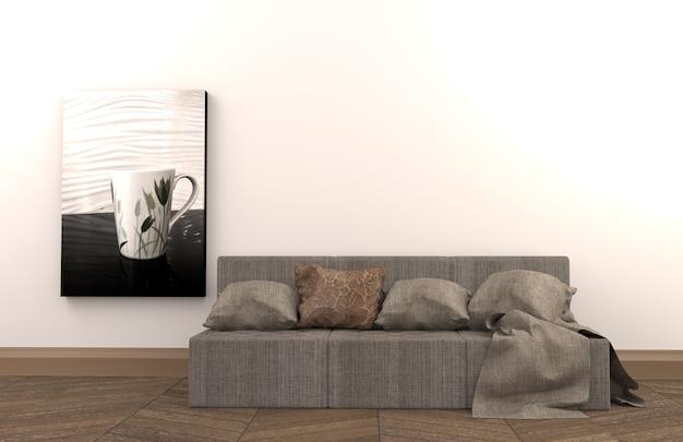 L'intérieur a un canapé et un cadre sur fond de mur blanc vide, rendu 3d