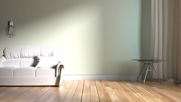 L'intérieur a un canapé sur fond de mur blanc vide, rendu 3d