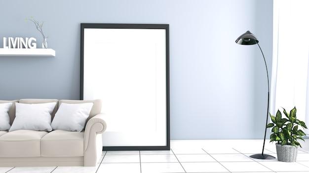 L'intérieur a un canapé gris et une lampe sur fond de mur blanc vide. rendu 3d