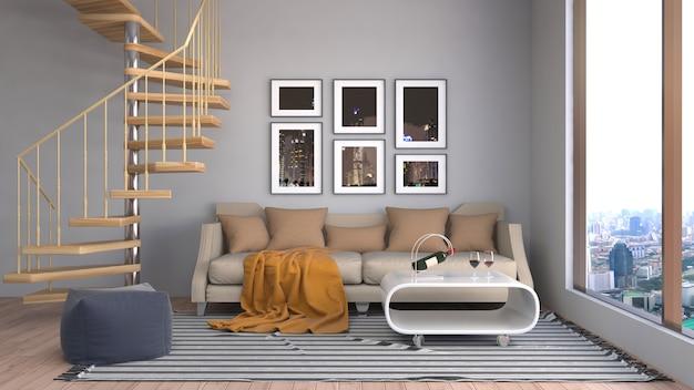 Intérieur avec canapé. illustration 3d