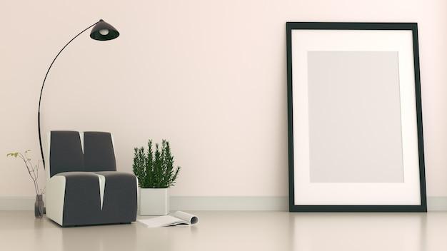 L'intérieur a un canapé et une lampe sur fond de mur blanc vide, rendu 3d