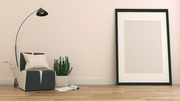 L'intérieur a un canapé et une lampe sur fond de mur blanc vide