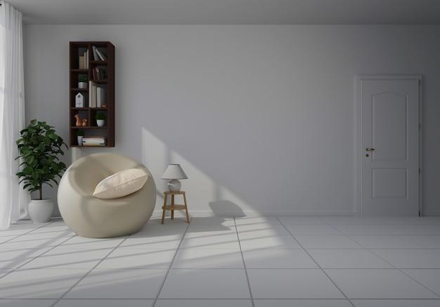 Intérieur avec chaise blanche dans le salon avec mur blanc