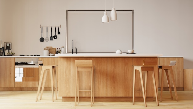 Intérieur avec chaise et table dans la salle de cuisine avec mur blanc. rendu 3d.