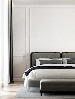 Intérieur de chambre confortable moderne et mur blanc vide