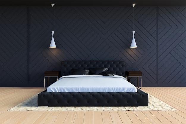 Intérieur de chambre à coucher contemporain moderne en couleur noir et blanc, rendu 3d