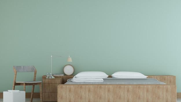 L'intérieur de la chambre à coucher design minimaliste dans l'appartement