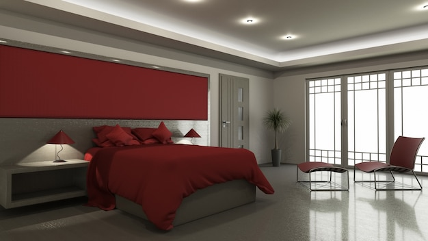 Intérieur de chambre à coucher moderne 3d
