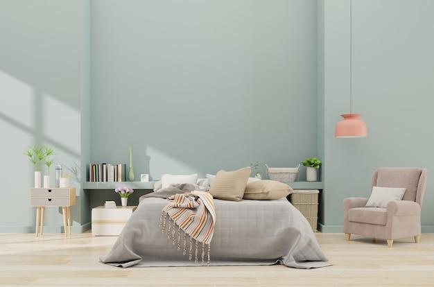 Intérieur de la chambre à coucher moderne avec fauteuil et mur bleu dans l'intérieur de la chambre spacieuse avec couverture grise, rendu 3d