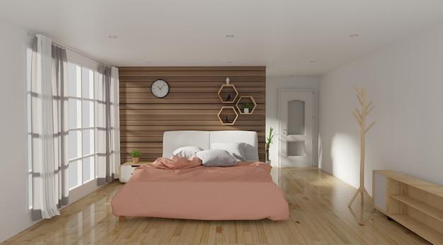 Intérieur de chambre à coucher moderne avec lampe