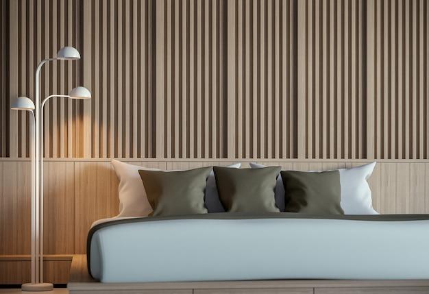 Intérieur de chambre à coucher paisible moderne rendu 3d style minimalisteil y a décorer le mur avec du bois