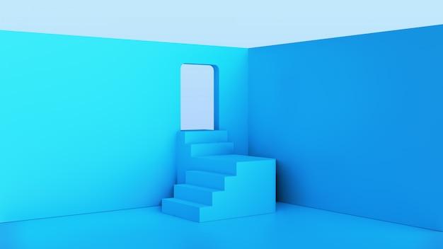 Intérieur de la chambre avec couleur bleue et escaliers
