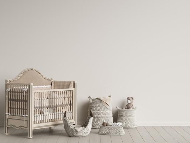 Intérieur de chambre d'enfant en gamma pastel avec espace de copie illustration numérique rendu 3d