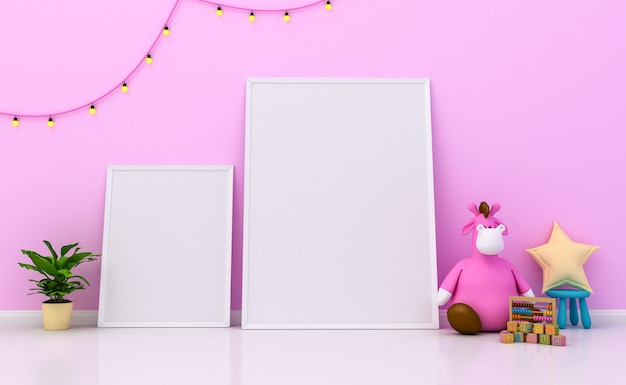 Intérieur de la chambre d'enfants avec une décoration mignonne et des cadres photo vierges sur le mur. rendu 3d