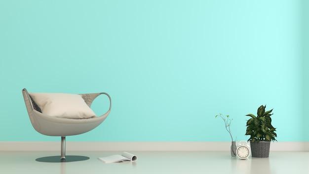 Intérieur de la chambre avec fauteuil et plantes sur fond de mur de menthe vide, rendu 3d