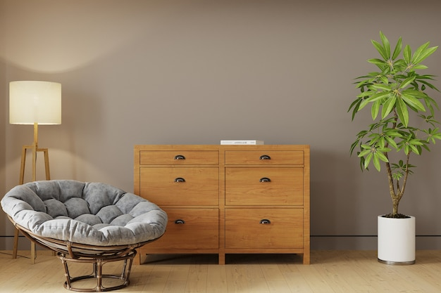 Intérieur d'une chambre avec fauteuil