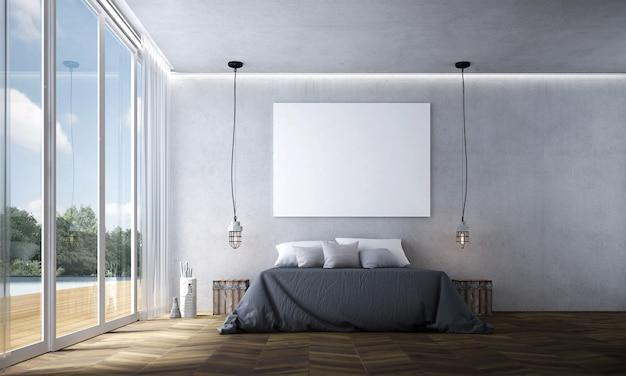 Intérieur de chambre loft moderne et décoration de meubles et fond de mur en béton vide