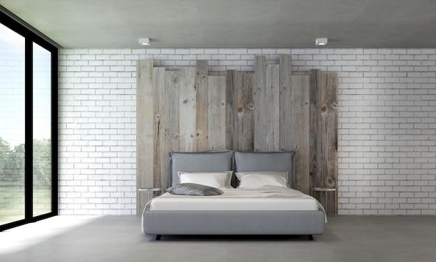 Intérieur de chambre loft moderne et décoration de meubles et fond de mur en bois