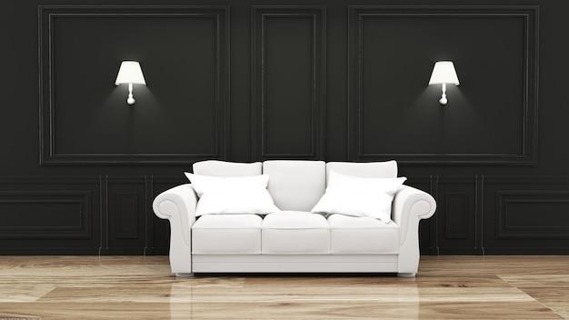 Intérieur de la chambre de luxe vide avec canapé dans la chambre mur noir sur plancher en bois. rendu 3d