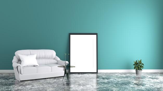 Intérieur de chambre menthe avec canapé en tissu, photo et plantes sur fond de mur de menthe vide.
