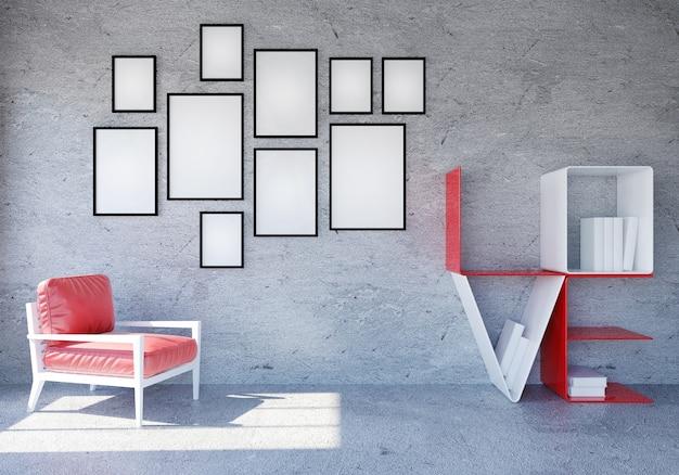 Intérieur de chambre moderne et loft avec étagère de livre d'amour de mot pour la saint-valentin, rendu 3d