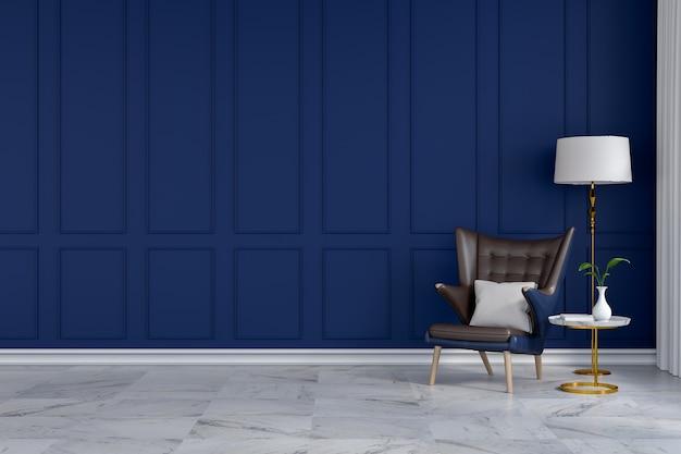 Intérieur de chambre moderne de luxe, chaise longue bleue avec lampe blanche sur mur bleu / rendu 3d