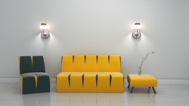 Intérieur de la chambre moderne. rendu 3d